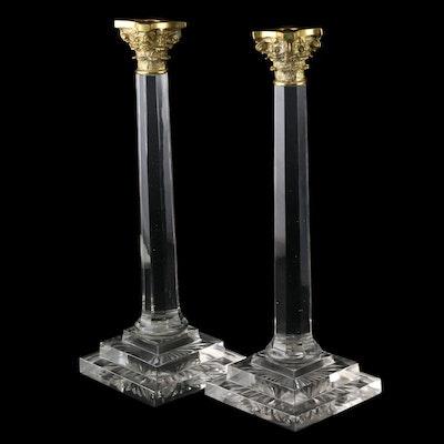Pair of Corinthian Column Crystal Candlesticks with Brass Capitals, 21st Century