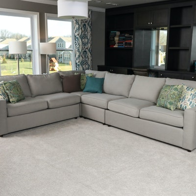 Rowe Furniture Contemporary Taupe Sectional with Decorative Pillows