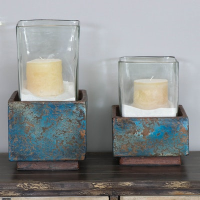Glazed Ceramic and Glass Candle Holders in Crackle Finish, Contemporary