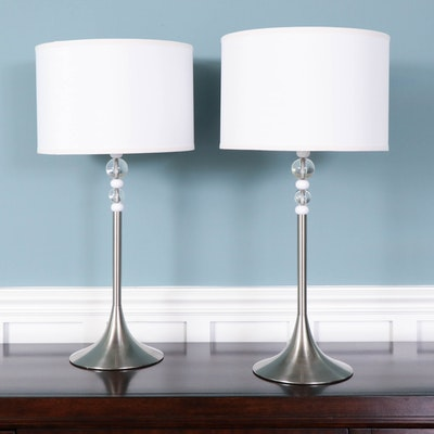 Brushed Nickel and Stacked Bead Table Lamps with Bright White Drum Shades
