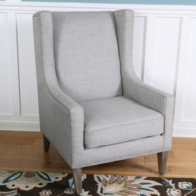 "Gray Upholstered ""Erie Club Chair"" with Nailhead Trim"