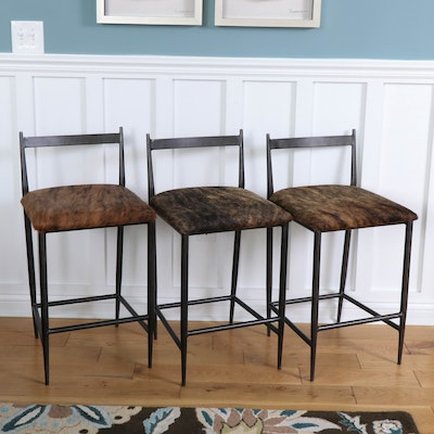 Gabby Furniture Cowhide Covered Counter Chairs with Metal Frames