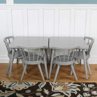 Pair of Delta Gray-Painted Child's Tables with Four Chairs