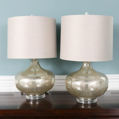 Mercury Glass Style Table Lamps with Fabric Drum Shades