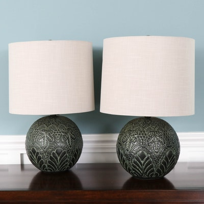 Style Craft Ceramic Table Lamps in Pierced Foliate Design