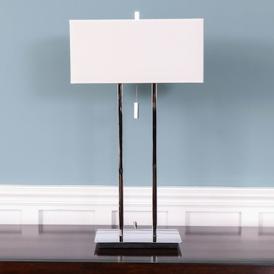 Linear Chrome Table Lamp with Fabric Shade