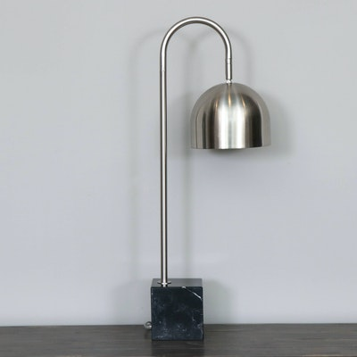 Brushed Chrome Arc Modern Desk Lamp with Marble Base