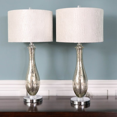 Mercury Glass Teardrop Style Table Lamps with Textured Fabric Shades