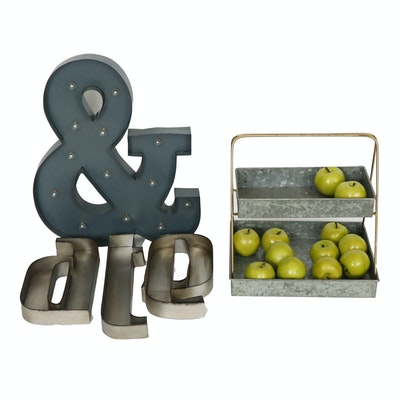 Galvanized Metal Two Tiered Basket with Metal Letters, Contemporary