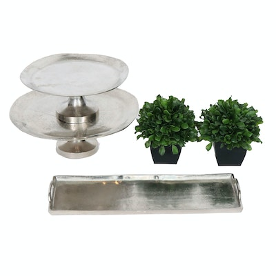 Silver-Tone Pastry Stands and Tray with Artificial Potted Plants