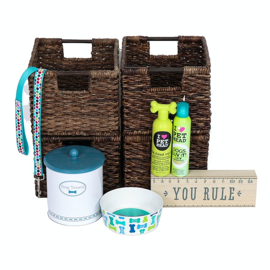 Woven Rush Storage Baskets, Metal Dog Treat Canister and Other Pet Supplies