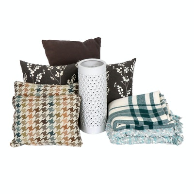 Modern Ceramic Umbrella Stand, Accent Pillows and Blankets, Contemporary