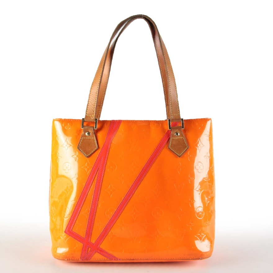 Louis Vuitton X Robert Wilson Houston Tote in Fluo Orange Monogram Vernis