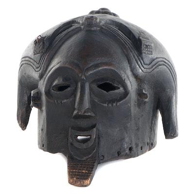 Luba Inspired Carved Wood Horned Helmet Mask, Central Africa