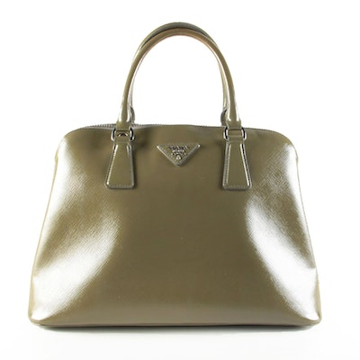 Prada Dome Satchel in Khaki Green Saffiano Leather with Shoulder Strap