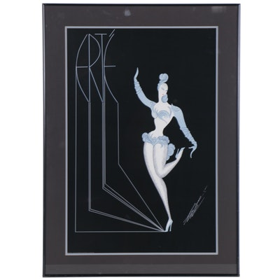 "Serigraph after Erté ""Dancer in Blue,"" Late 20th Century"