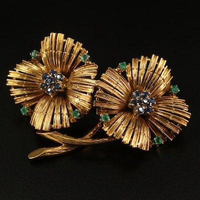 Vintage 18K Sapphire and Emerald Flower Brooch