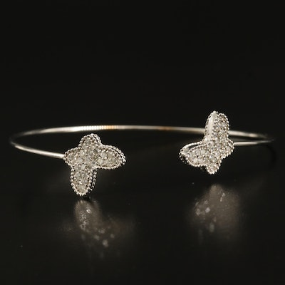14K 1.00 CTW Diamond Butterfly Cuff