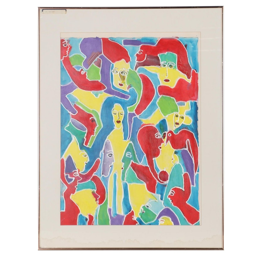 "Charles Tullio Abstract Acrylic Painting ""Red Bird,"" Late 20th Century"