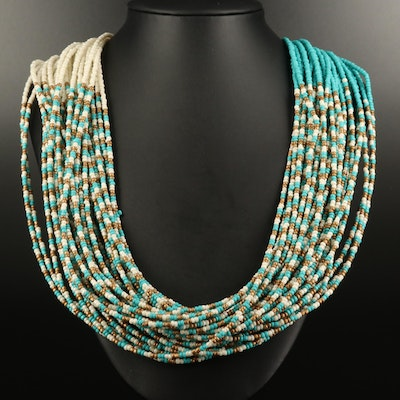 Multi-Strand Glass Beaded Necklace