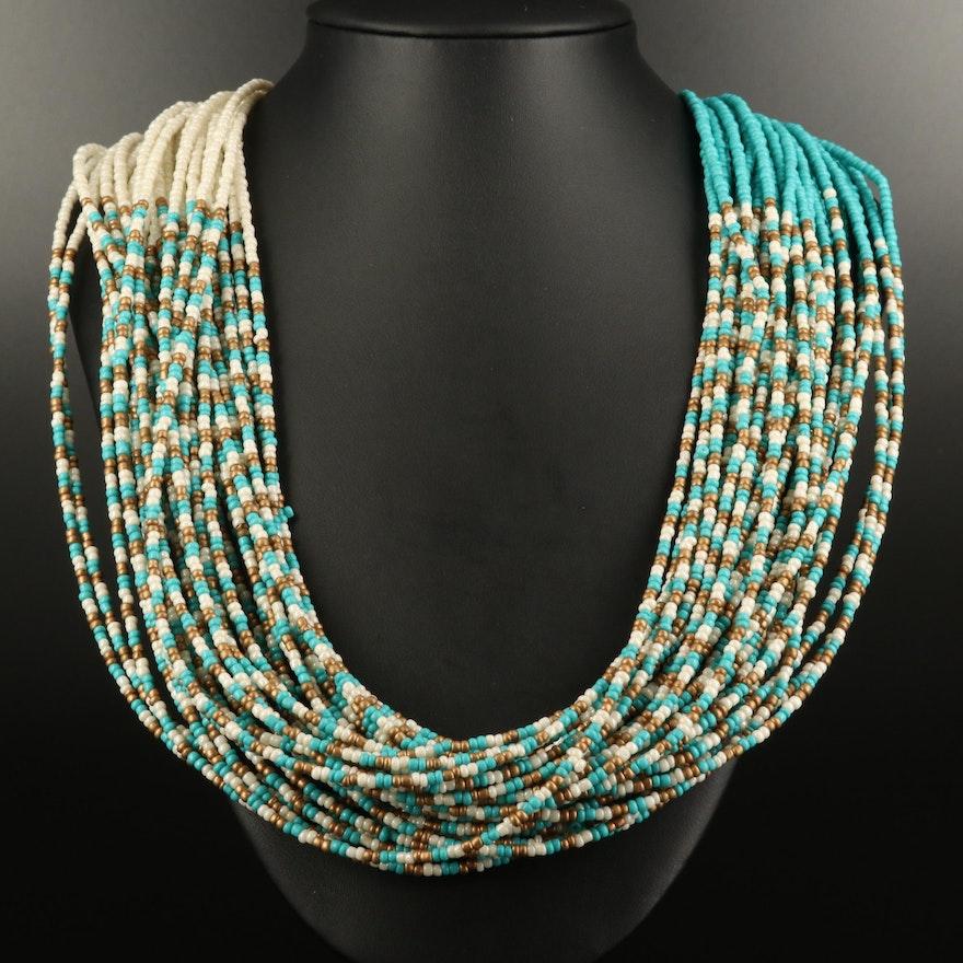 Multi-Strand Glass Beaded Necklace