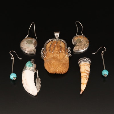 Sterling Pendants and Earrings Featuring Carved Bone Bear Pendant and Ammonite