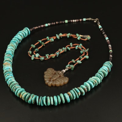Sterling Serpentine, Turquoise and Shell Beaded Necklaces