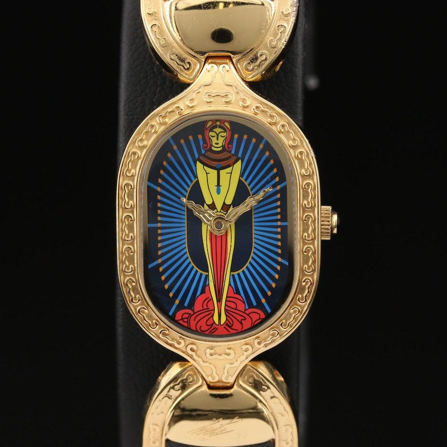 Sevenarts Ltd Erte Gold Plated Stainless Steel Quartz Wristwatch