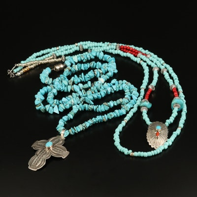 Southwestern Turquoise, Coral and Magnesite Beaded Necklace