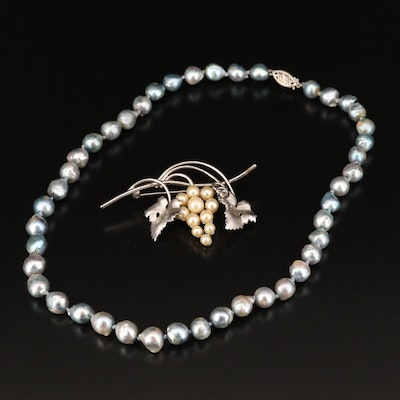 Beau Sterling Faux Pearl Brooch and Baroque Pearl Necklace with 14K Clasp