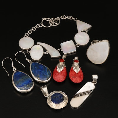 Sterling Silver Gemstone Pendants and Earrings with 900 Silver Bracelet