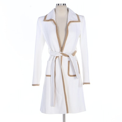 Valentino Roma White Tweed Belted Coat with Faux Suede Trim