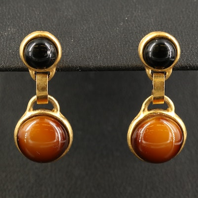 Glass Cabochon Drop Earrings