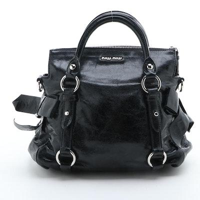 Miu Miu Black Crinkle Leather Two-Way Satchel
