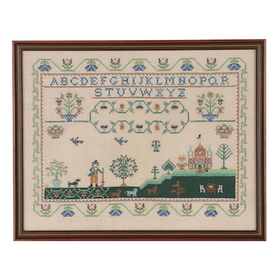 Reproduction Cross-Stitch Sampler after Catharine Ann Speel, 20th Century