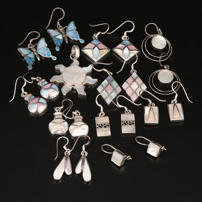 Sterling Silver Earrings and Sun Pendant Featuring Mother of Pearl Inlay