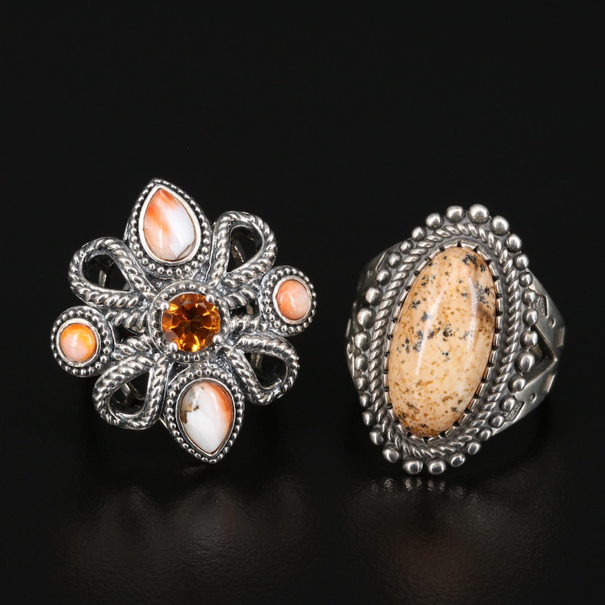 Sterling Citrine, Agate and Jasper Rings Featuring Carolyn Pollack for Relios