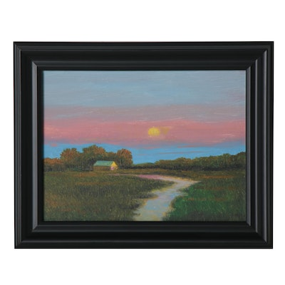 Sulmaz H. Radvand Oil Painting of Rural Landscape at Sunset, 2020