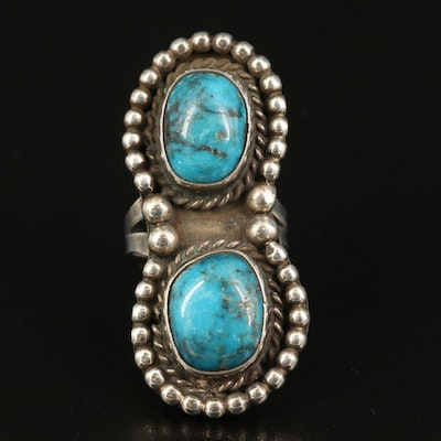 Southwestern Style Sterling Silver Turquoise Pointer Ring