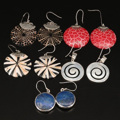 Assortment of Sterling Earrings Featuring Mother of Pearl and Lapis Lazuli