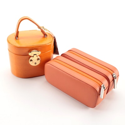 Collection of Orange Leather and Bonded Leather Rowallan Travel Jewelry Cases