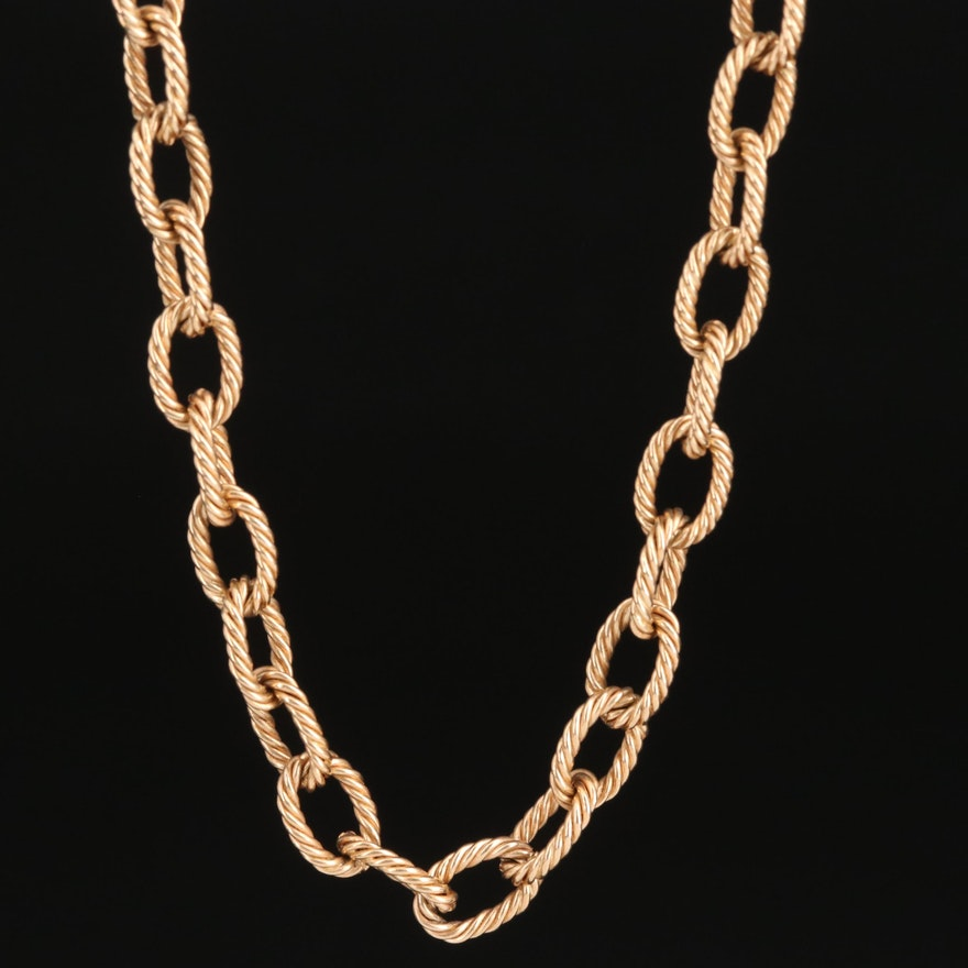 Vintage 14K Cable Chain Link Necklace