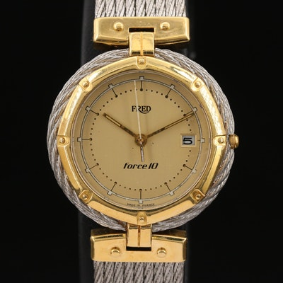 18K Gold and Stainless Steel Fred Force 10 French Quartz Wristwatch