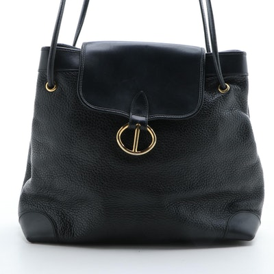 Christian Dior Black Grained Leather Shoulder Bag
