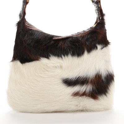 Maya Moon Calf Hair and Studded Embossed Leather Shoulder Bag
