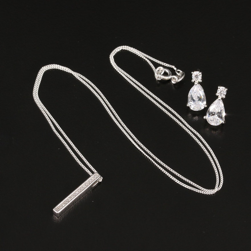 Sterling Silver Diamond Bar Pendant Necklace and Cubic Zirconia Stud Earrings