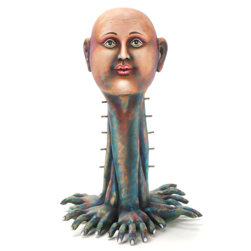 Carlos Albert Ceramic Sculpture of Surreal Portrait, Late 20th Century