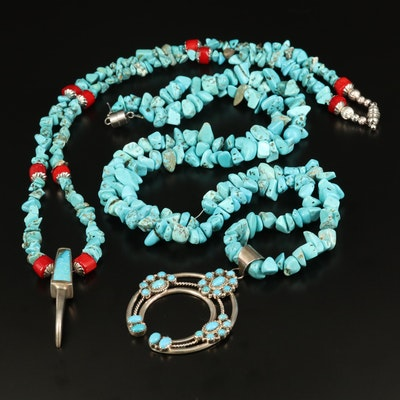 Southwestern Sterling Turquoise, Coral and Magnesite Necklaces