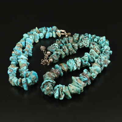 Southwestern Turquoise Beaded Necklaces with Sterling Clasps