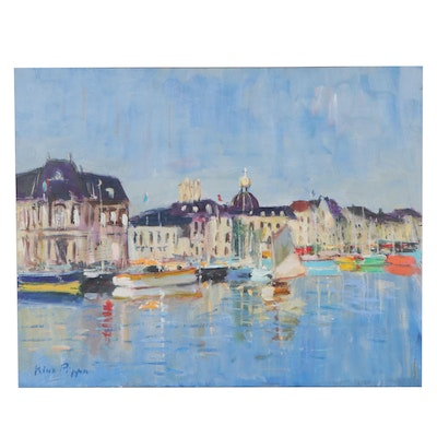 """Nino Pippa Oil Painting """"Normandy - Dieppe Old Harbor,"""" 2014"""